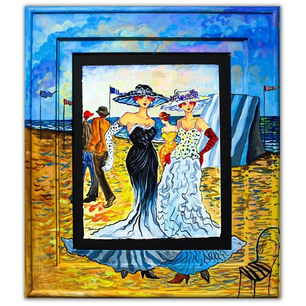 "Patricia Govezensky- Original Watercolor with Hand Painted Frame ""Evelina & Carmella"""
