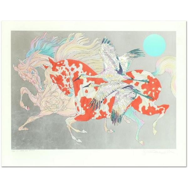 """Guillaume Azoulay- Serigraph with Hand Laid Silver Leaf """"It Takes Two"""""""