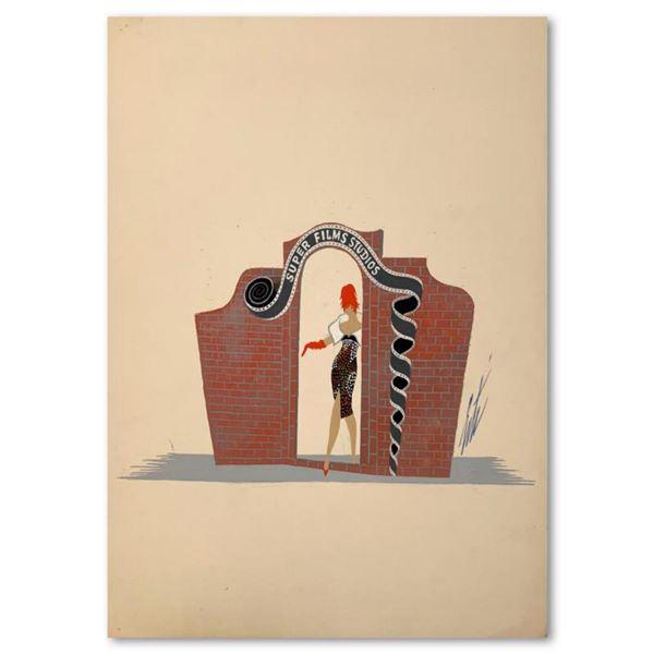 """Erte (1892-1990), """"La Porte des Studios"""" Original Gauche Painting, Hand Signed with Letter of Authen"""