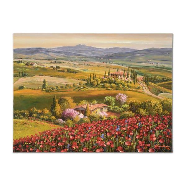 """Sam Park, """"Tuscany Red Poppies"""" Hand Embellished Limited Edition Serigraph on Canvas, Numbered and H"""