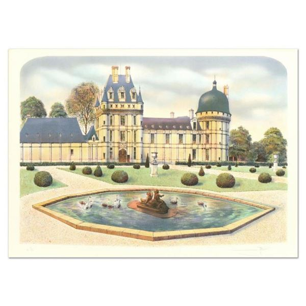 """Rolf Rafflewski, """"Chateau de Valencay"""" Limited Edition Lithograph, Numbered and Hand Signed."""