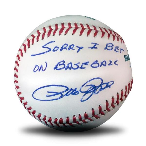 """""""Pete Rose, Sorry Ball"""" This Baseball is Autographed by Pete Rose and Inscribed, """"Sorry I bet on Bas"""