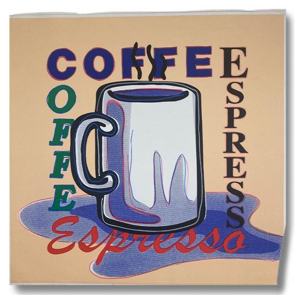 """Steve Kaufman (1960-2010) """"ESPRESSO"""" Hand Signed and Numbered Limited Edition Hand Pulled silkscreen"""