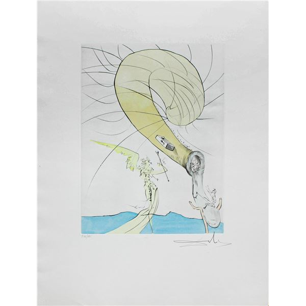 """Salvador Dali- Hand Colored Original Etching """"Freud with Snail-Head"""""""