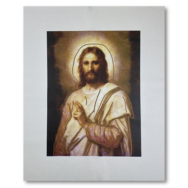 """Steve Kaufman (1960-2010) """"Jesus Peace (State 2)"""" Hand Signed and Numbered Limited Edition Hand Pull"""