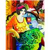"""Image 2 : Patricia Govezensky- Original Watercolor with Hand Painted Frame """"Concetta"""""""