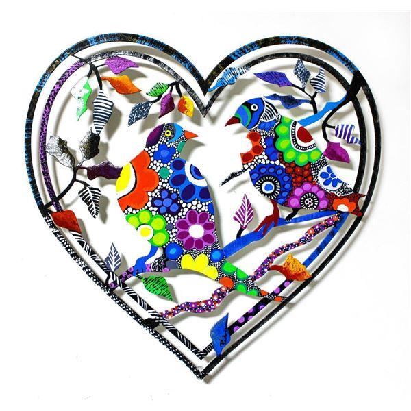 "Patricia Govezensky- Original Painting on Laser Cut Steel ""Love Birds XIX"""