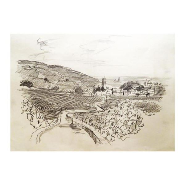 "Wayne Ensrud ""Pommard, Burgundy"" Pencil Original Artwork; Hand Signed; COA"