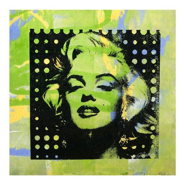 """Gail Rodgers, """"Marilyn Monroe"""" Hand Signed Original Hand Pulled Silkscreen Mixed Media on Canvas wit"""