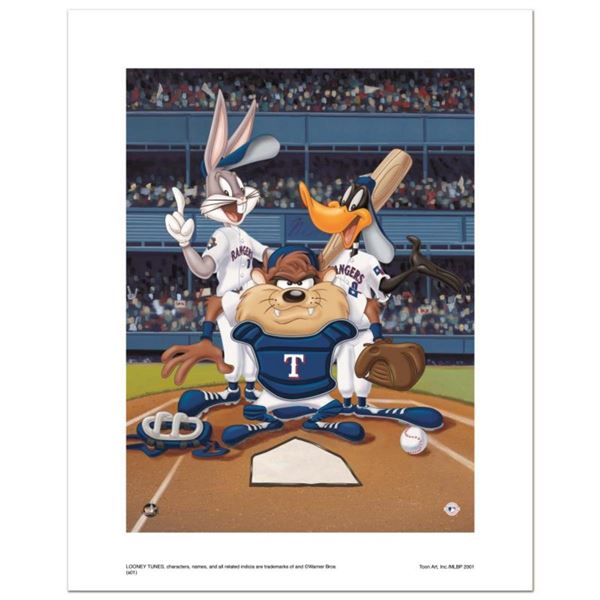 """""""At the Plate (Rangers)"""" Numbered Limited Edition Giclee from Warner Bros. with Certificate of Authe"""