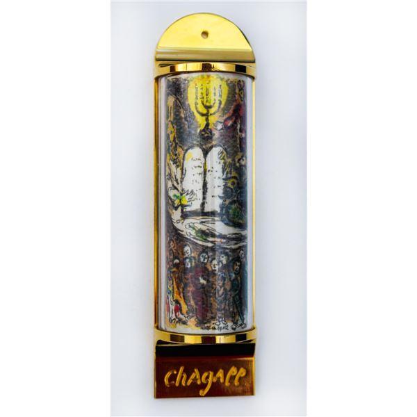 """Marc Chagall - Mezuzah - silkscreen on 24K gold plated bronze """"Ten Commandments"""""""