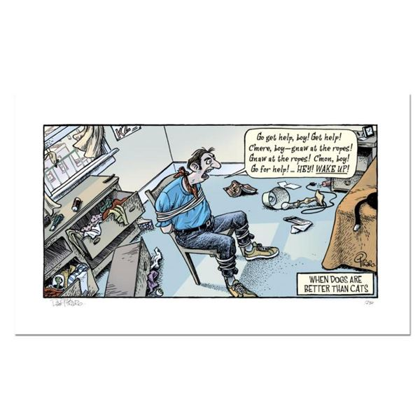 """Bizarro! """"Cat Burglar"""" Numbered Limited Edition Hand Signed by creator Dan Piraro; Letter of Authent"""