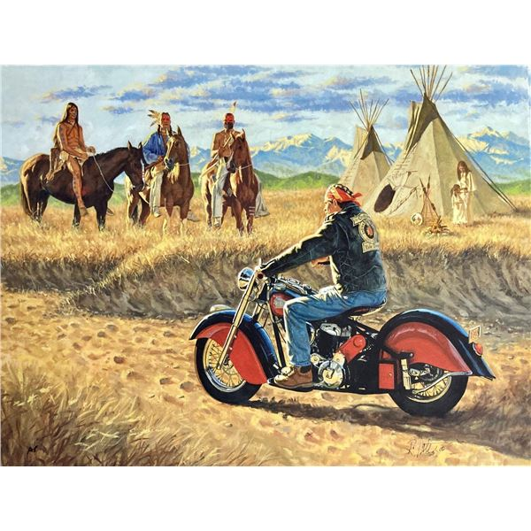"Robert Tate- Original Giclee on Canvas ""Indians"""