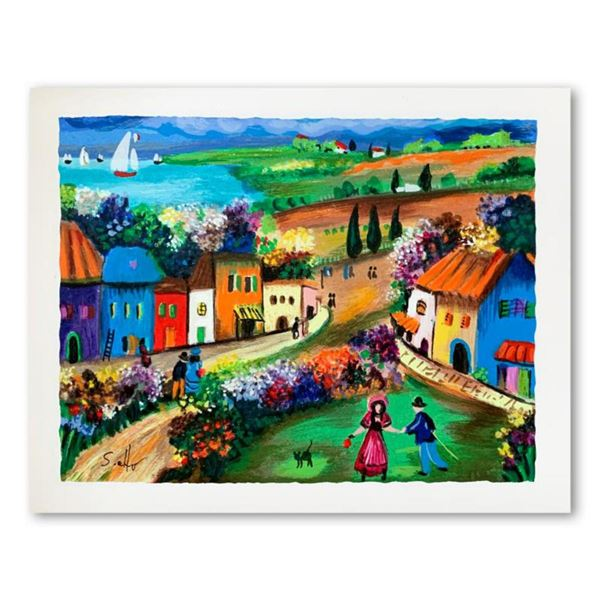 """Shlomo Alter, """"The Village"""" Hand Signed Limited Edition Serigraph on Paper with Letter of Authentici"""