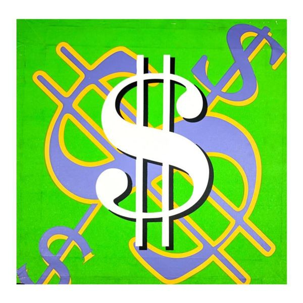 """Steve Kaufman (1960-2010) """"Dollar Sign (Green Classic)"""" Hand Signed and Numbered Limited Edition Han"""