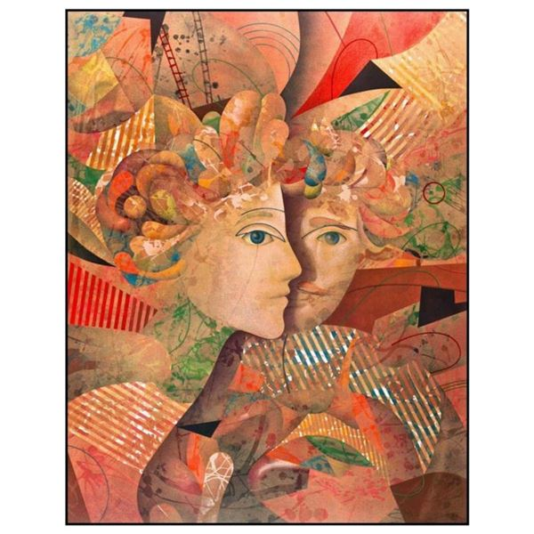 """Yankel Ginzburg, """"Lovers"""" Hand Signed Limited Edition Serigraph with Letter of Authenticity."""
