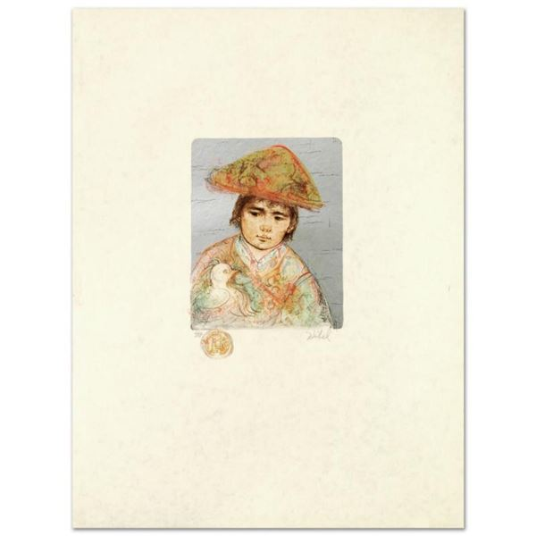 """""""Boy with Chicken"""" Limited Edition Lithograph by Edna Hibel (1917-2014), Numbered and Hand Signed wi"""