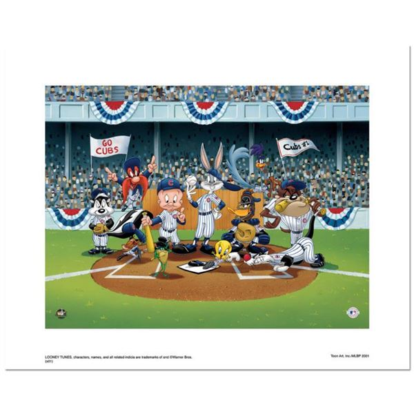 Line Up At The Plate (Cubs)  is a Limited Edition Giclee from Warner Brothers with Hologram Seal an