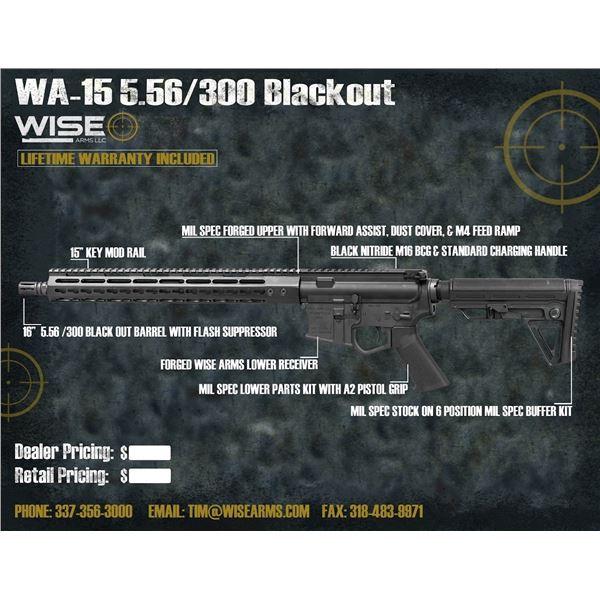 "WISE ARMS AR-15 16"" BILLET 300 Blackout W/ 15"" RAIL"