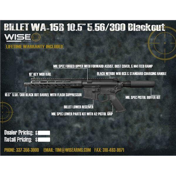 """WISE ARMS 10.5"""" BILLET 5.56 BLACKOUT W/ 10"""" RAIL"""