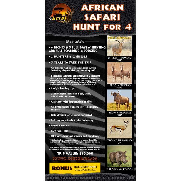 African Safari Hunt for 4 With Kuche Safaris