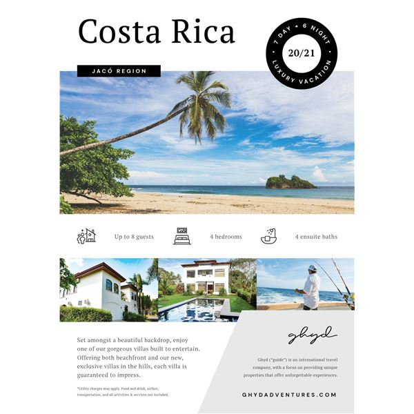 7 Day Costa Rica Dream Vacation 8 People