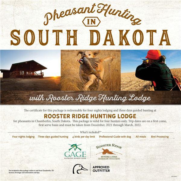 South Dakota Pheasant hunting for 4- Rooster Ridge