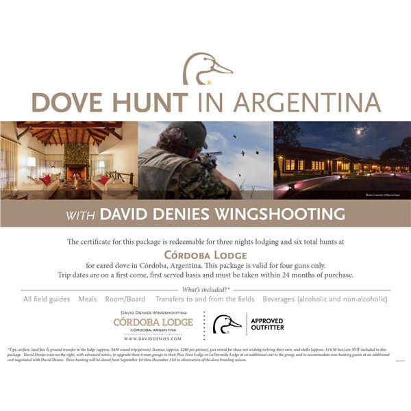 Dove Hunt for 4 in Argentina- Cordobe Lodge