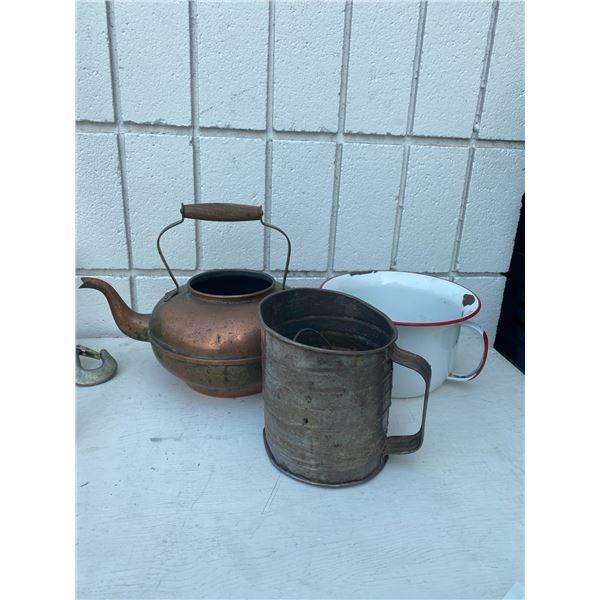 Tin enamel, tea pot and flour sifter