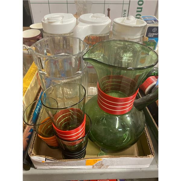 Vintage glassware and 3 glass jug