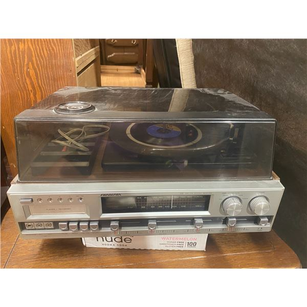 Sound design stereo record player and two speakers