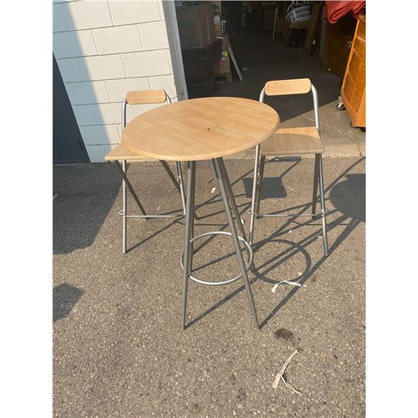Table and two folding stools
