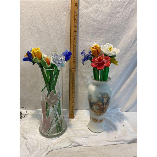 Glass flowers in vases