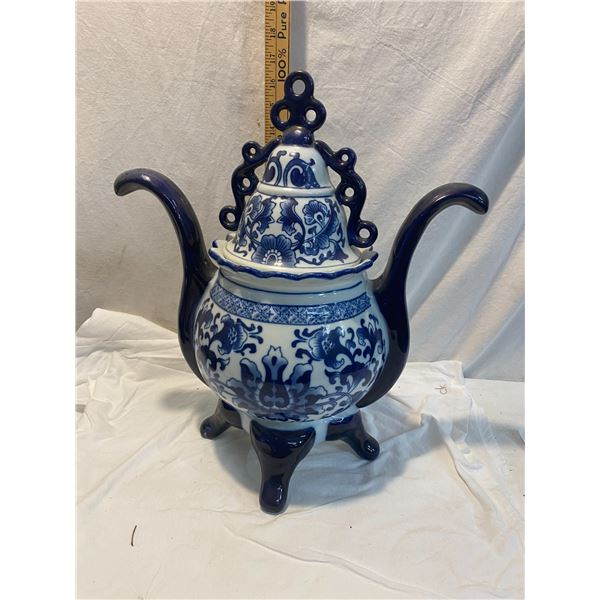 Blue and white lidded container