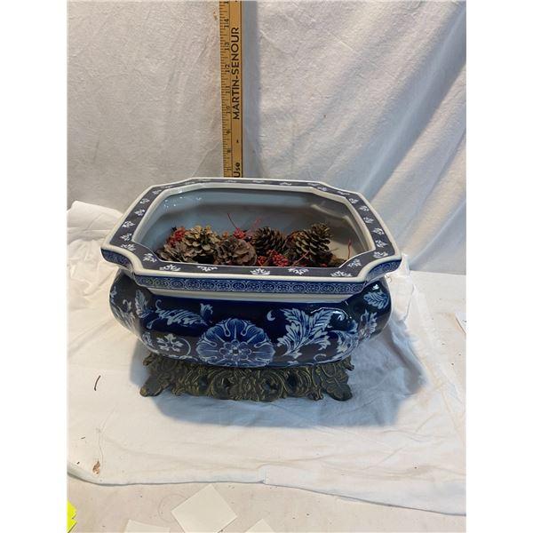 Blue and white decor bowl