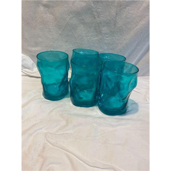 5 teal glasses