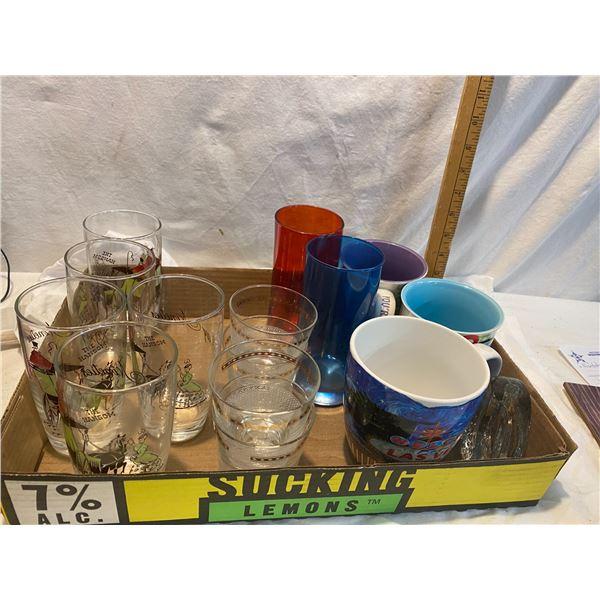 Mugs and vintage glasses