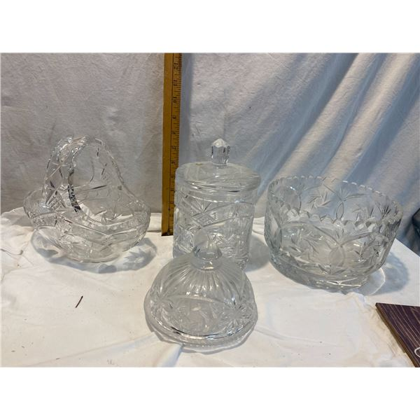 Lot of 4 crystal dishes