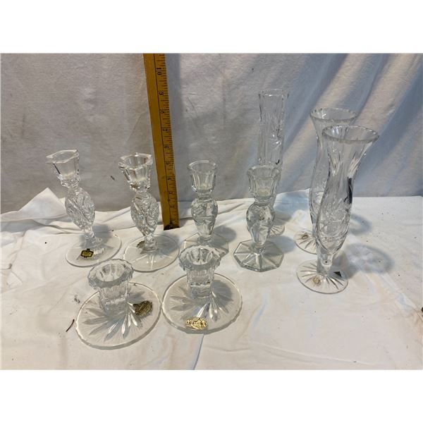 Crystal candle holders and vases