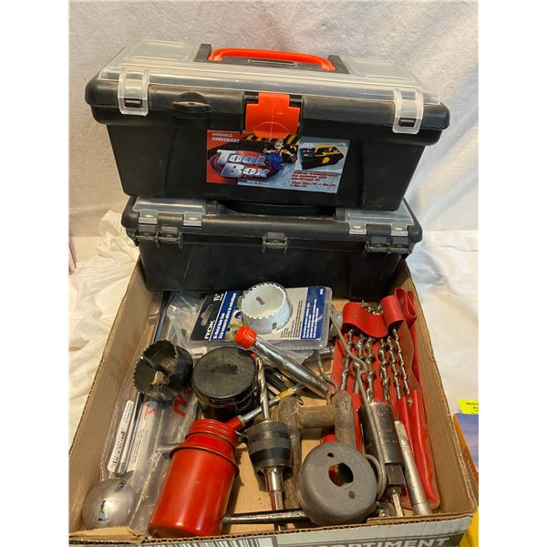 Assorted tools and boxes