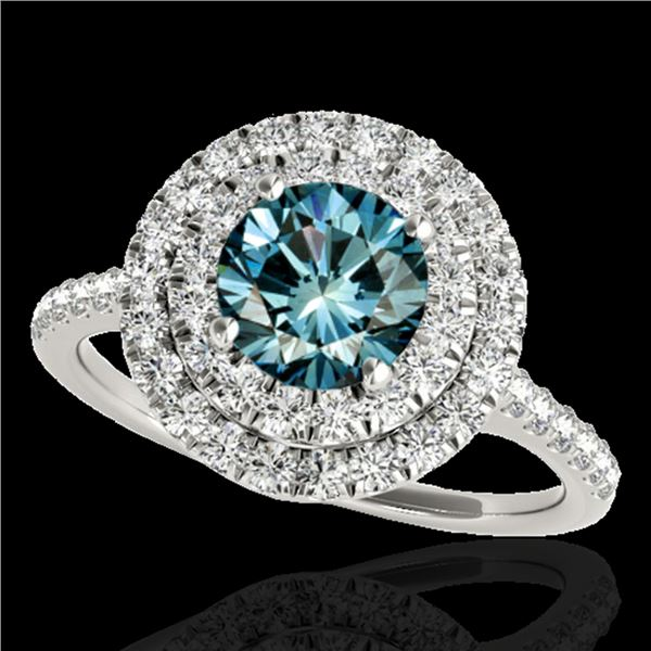 1.5 ctw SI Certified Fancy Blue Diamond Solitaire Halo Ring 10k White Gold - REF-122M8G