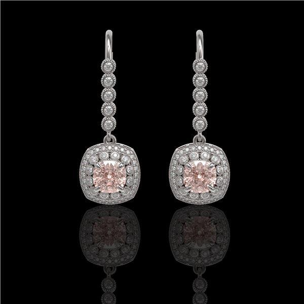 4.3 ctw Certified Morganite & Diamond Victorian Earrings 14K White Gold - REF-172N8F