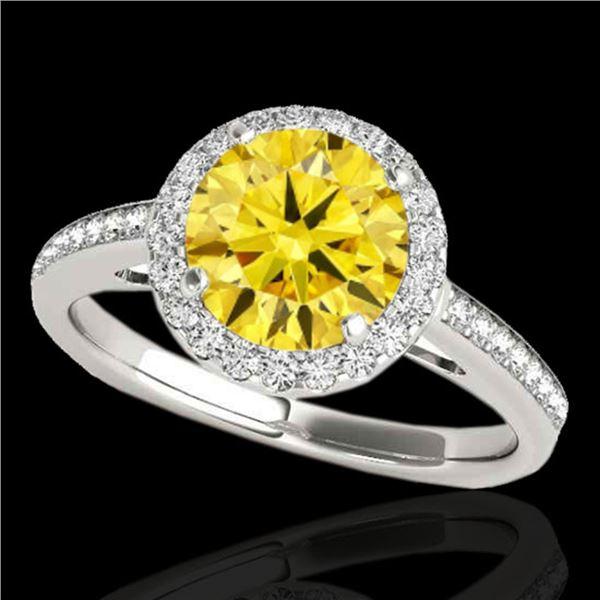 1.3 ctw Certified SI Fancy Intense Diamond Halo Ring 10k 2Tone Gold - REF-190A9N