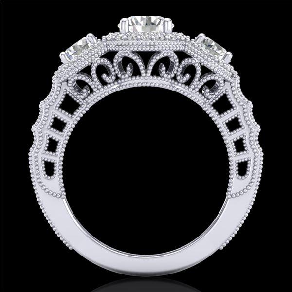 2.16 ctw VS/SI Diamond Solitaire Art Deco 3 Stone Ring 18k White Gold - REF-298M5G