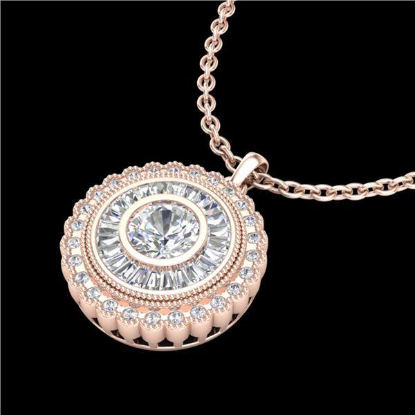 2.11 ctw VS/SI Diamond Solitaire Art Deco Stud Necklace 18k Rose Gold - REF-309N3F