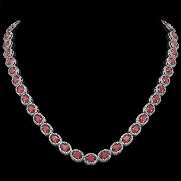 31.1 ctw Tourmaline & Diamond Micro Pave Halo Necklace 10k White Gold - REF-600N2F
