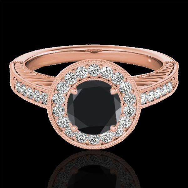 1.5 ctw Certified VS Black Diamond Solitaire Halo Ring 10k Rose Gold - REF-56F5M