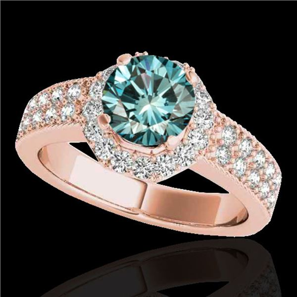 1.4 ctw SI Certified Fancy Blue Diamond Solitaire Halo Ring 10k Rose Gold - REF-129X4A