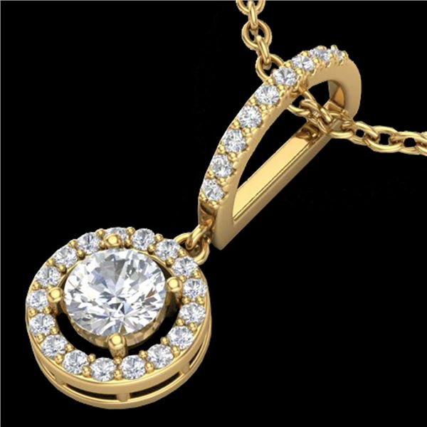 0.90 ctw Micro Pave Halo VS/SI Diamond CertifiedNecklace 18k Yellow Gold - REF-115X8A