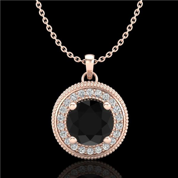 1.25 ctw Fancy Black Diamond Art Deco Stud Necklace 18k Rose Gold - REF-89W3H